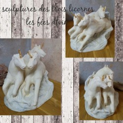 Sculpture licornes aux galops